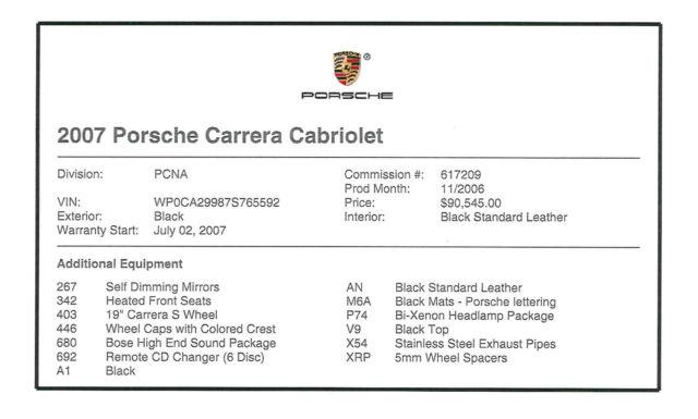 Seller of German Cars - 2007 Porsche 911 (Black/Black)